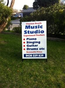 Clayton Music School A frame sign