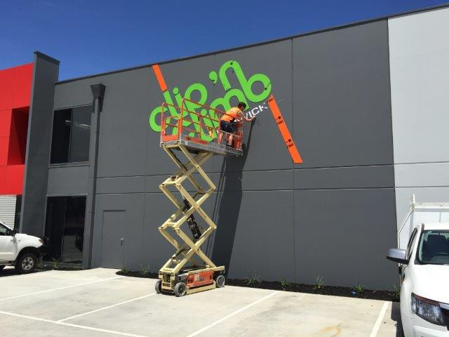 Berwick Clip n' Climb C&C routed lettering being installed