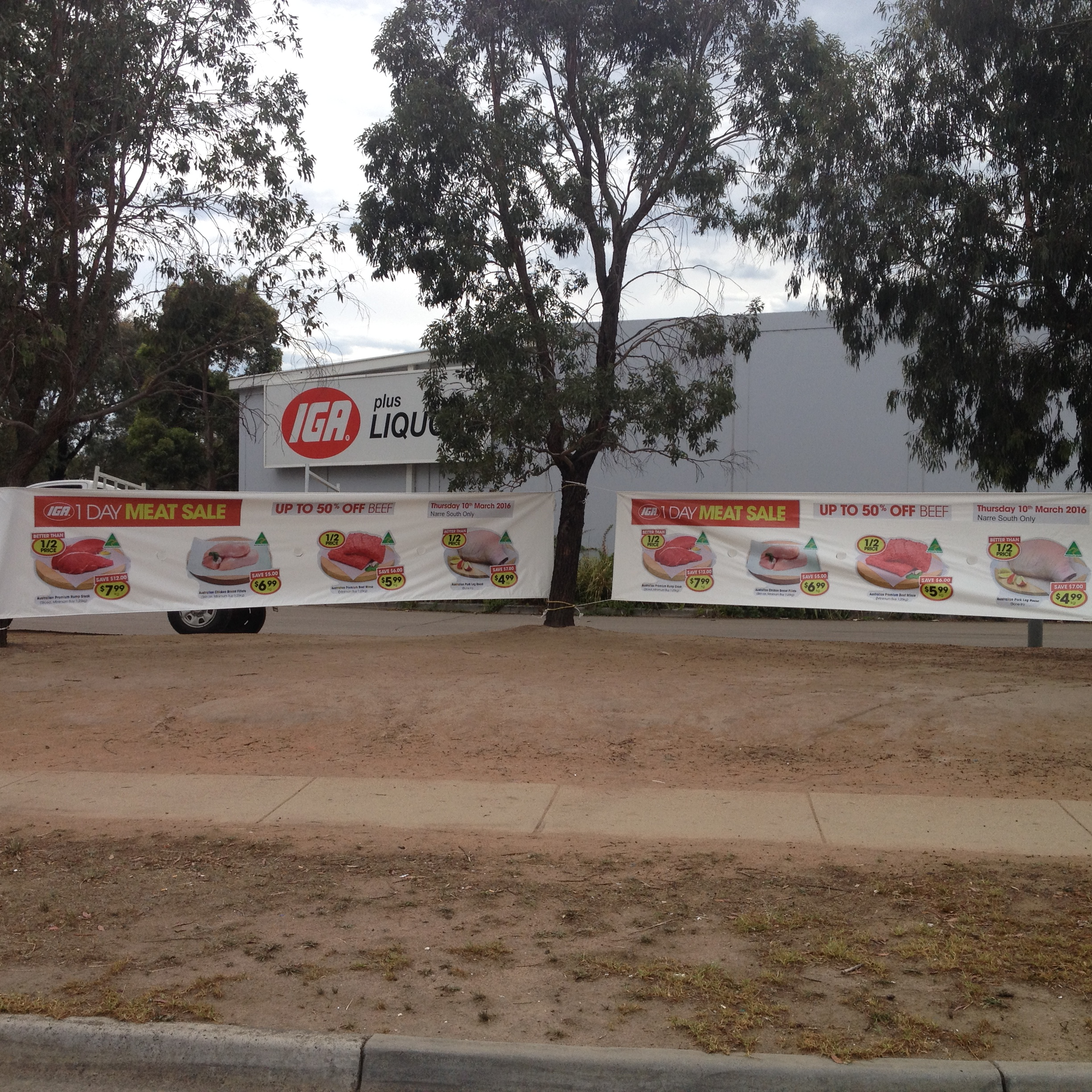 IGA banners can be seen clearly from quite some distance