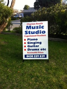 Clayton-Music-School-A-frame-sign